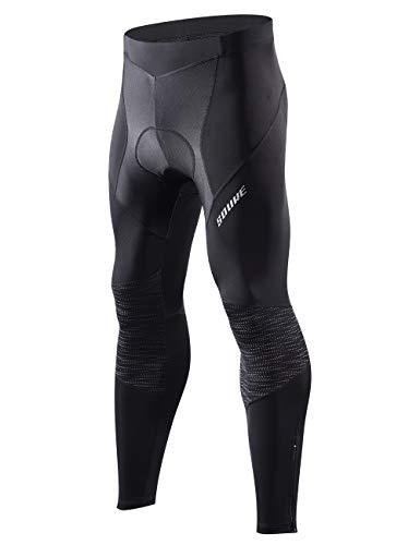 Souke Sports Fahrradhose Herren Lang 3D gepolsterte Legging Radsport Lange Hosen Atmungsaktiv Radhose Herren Lang für Herbst Frühling -