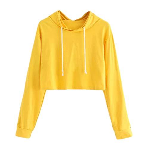 VEMOW Herbst Winter Casual Damen Frauen Langarm Casual Sport Hoodie Sweatshirt mit Kapuze Pullover Tops Bluse(X1-Gelb, EU-42/CN-XL)