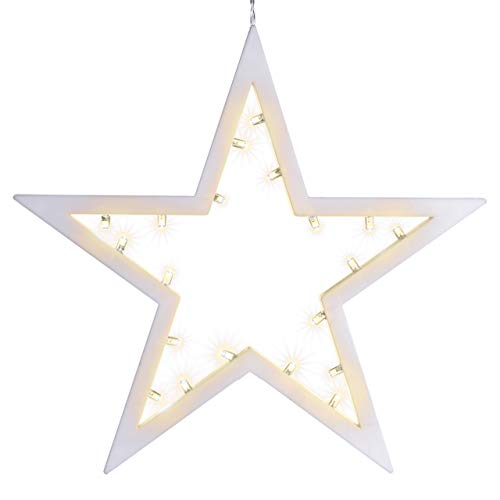 20 LED Dekoleuchte Stern Leuchtfarbe warmweiß Rahmen hellgrau Batterie Lichterstern Weihnachtsstern Dekobstern Fensterdeko Fensterschmuck Weihnachtsdeko Weihnachten Glitzerstern IP20 Schutzklasse