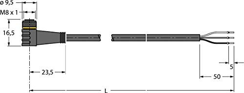 Turck Anschlussleitung PKW3M-P7X2-2/TXL PUR Konfektioniertes Sensor-Aktor-Kabel 4047101276657