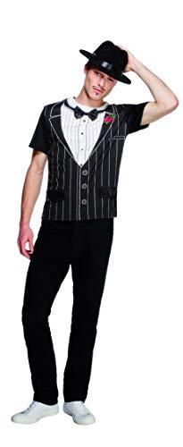 Fever, Herren Gangster Kostüm, Gangster-T-Shirt, Größe: M, 34154