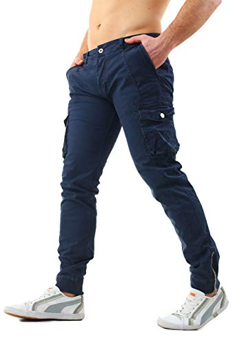 Instinct pantaloni uomo cargo con tasche laterali tasconi jeans slim fit elastico alle caviglie militari zip (34/48 it, blu 4081)
