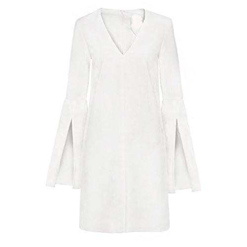 CHENGYANG Femmes Elegante Col en V Manche Longue Robe de Soirée Blanc