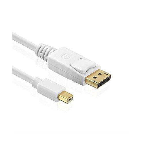 rocabo 1,5m Mini DisplayPort (Mini-DP) auf DisplayPort (DP) – Mini DP-Stecker auf DP-Stecker – weiß – vergoldete Kontakte – für PC, Laptop, Netbook und Andere