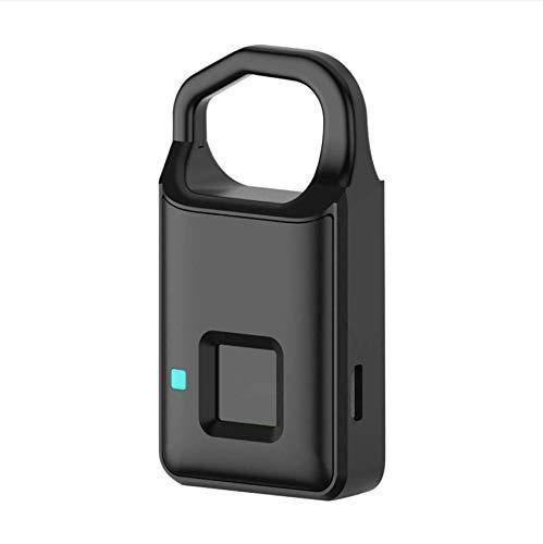 Fingerabdruck-Vorhängeschloss, Intelligente USB Sperre Wasserdicht Edelstahl + Aluminiumlegierung für Türen, Schränke, Fahrräder, Rucksäcke, Aufbewahrungsfächer(schwarz)