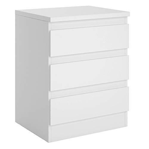 CARO-Möbel Nachttisch Dahlia grifflos Nachtschrank für Boxspringbett Nachtkonsole mit 3 Schubladen in weiß