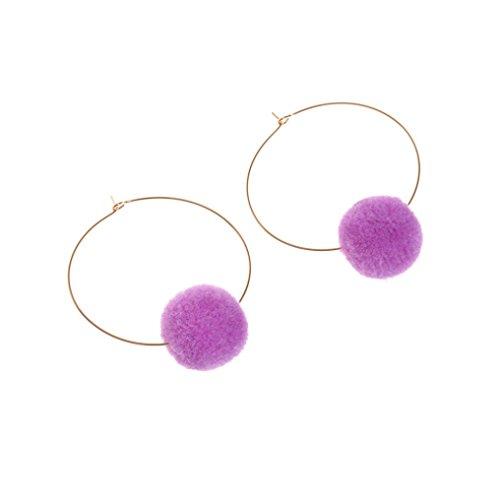 Ohrringe Damen,DOLDOA Ohrstecker Earring Ohr Ring Ohrschmuck Metall Baumeln (Lila,Metall Baumeln Ohrringe)