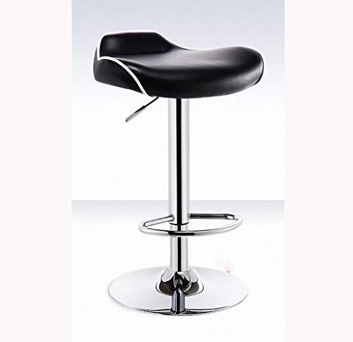 YAJBD Barhocker PU-Lederstuhl Küchen-Frühstücksbar-Barhocker, höhenverstellbar und Starke Chromplatte mit maximaler Belastung 120 kg, verwendet in der Küchenbar Barstühle (Farbe : SCHWARZ)