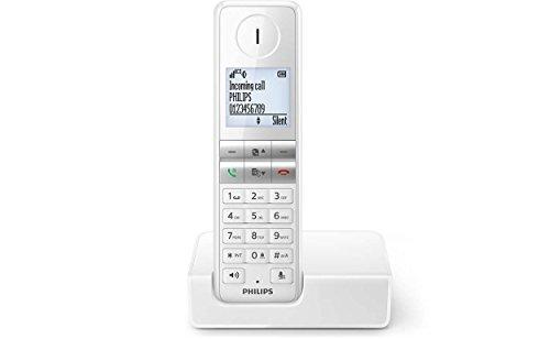 Philips D4601W schnurloses Telefon (4,6 cm Display, HQ-Sound, Mobilteil mit Freisprecheinrichtung) weiß