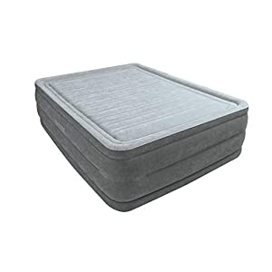 "Intex Dura-Beam Comfort Plush 22"" High Air Bed Queen Size with built-in electric pump #64418"