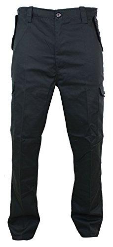 Pantaloni per Lavoro da Uomo Neri Blu Verdi o Blu Marino Stile Militare Cargo nero 34UK, 44IT
