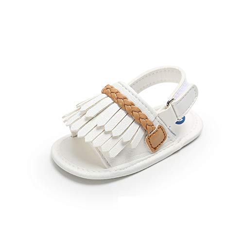 Fansu Baby Quaste Sandalen, Kindersandale Sommer Mädchen Bogen Woven Anti-Rutsch-Weiche Schuh Neugeborene 0-18 Monate Prinzessin Schuhe Woven Bogen