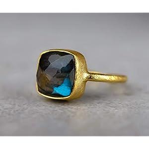 """925 Sterling vergoldeter Edelstein-Ring""""Labradorit"""" Schmuck Silber Gold Muttertagsgeschenk Geburtsstein Edelsteinschmuck"""
