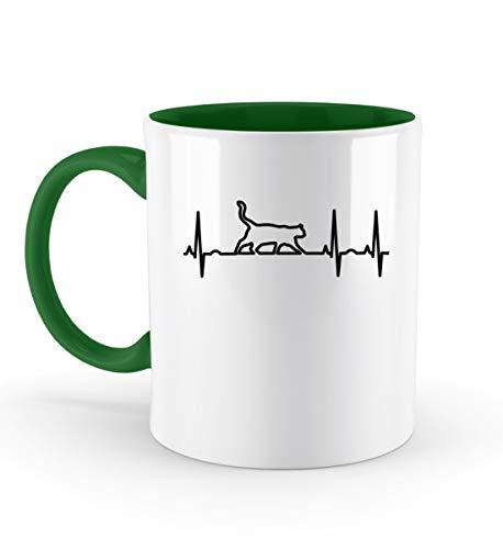 PlimPlom Katze Silhouette Tasse Katzen EKG Herzschlag Kaffeetasse - Zweifarbige Tasse -330ml-Irish Green