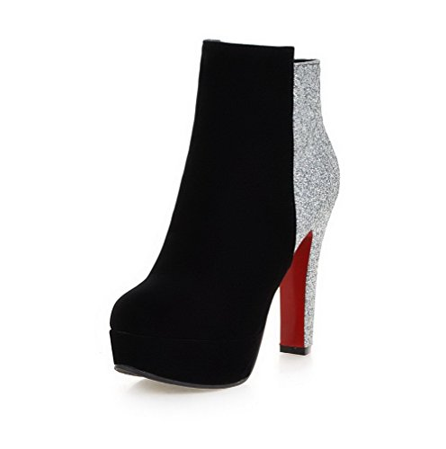 AllhqFashion Damen Gemischte Farbe Hoher Absatz Rund Zehe Stiefel mit Paillette Schwarz
