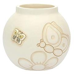 Idea Regalo - THUN - Vaso con Farfalle - Formato Medio - Linea Elegance - Ceramica - 14,8x14,8x13,6 cm h