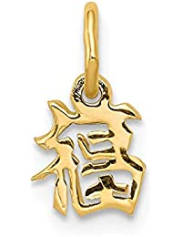 14k Yellow Gold Chinese Symbol Good Luck Pendant Charm Necklace Italian Horn Fine Jewelry For Women Gift Set