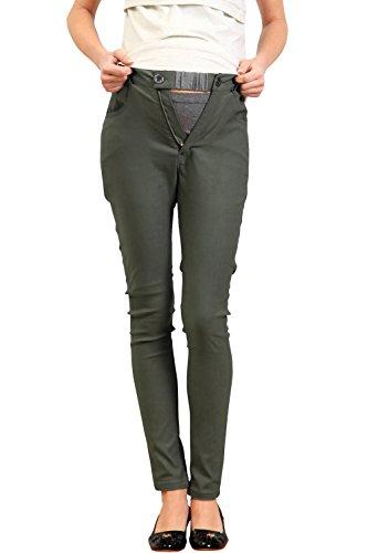 SP5004 Pantalon de grossesse skinny à tour de taille réglable Kaki