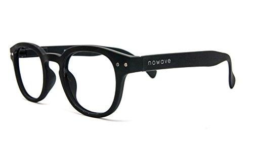 NOWAVE Occhiali da lettura +1.00 | Montatura leggera, colorata e moderna | Occhiali Presbiopia Anti luce blu e UV | Immediato comfort visivo | +1.00 Nero