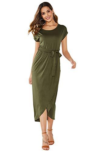 Yidarton Sommerkleid Damen Shirt Kleider Lang Strandkleid Beach Kleid Partykleid Elegant Maxikleid (S, Grün)