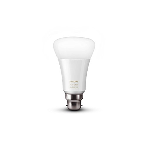 Philips Hue White Ambience Personal Wireless Lighting LED B22 9.5 W Bayonet Cap Bulb, Apple HomeKit Enabled, Works with Alexa