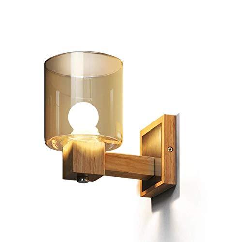 Vor dem Spiegel Wandleuchte Wandleuchte aus massivem Holz im nordischen Stil, Wandleuchte aus Kristall-Braunglas, E14 Schlafzimmer am Bett Badezimmer Wohnzimmer Esszimmer Minimalistische dekorative Wa