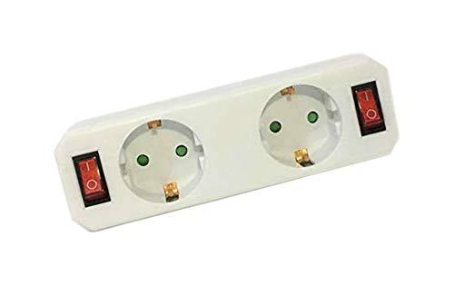 Liyset GZB2K01/02 Adaptador 2 tomas con 2 interruptores Clavija Schuko