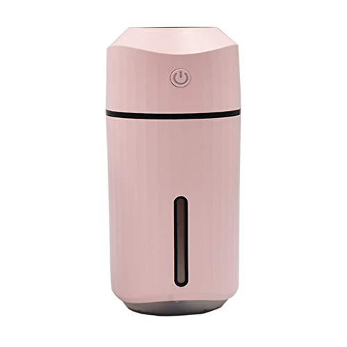 XCXC 320ml Luftbefeuchter Mit Kühlem Nebel, Bewegliche Luft Luftbefeuchter Mit 7 Farben-LED-Licht, USB Power, Freien Filter, Fahren Wasserlos Automatische Down For Heim, Schlafzimmer (Color : Pink)
