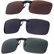 VORCOOL 3pcs Gafas de Sol de Clip en Flip Up Lente polarizada sin Marco Rectangle Lens