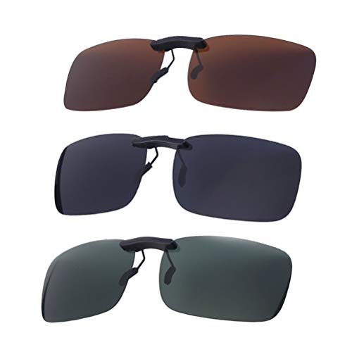 0b504baa23 VORCOOL 3pcs Gafas de Sol de Clip en Flip Up Lente polarizada sin Marco  Rectangle Lens