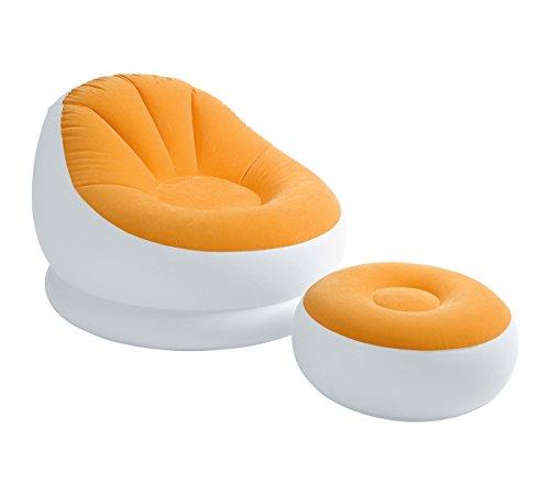 Intex 68572 poltrona relax gonfiabile colore arancione con poggiapiedi tessuto floccato. mws