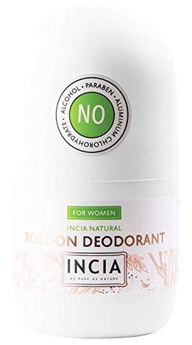 INCIA Natural Roll-On Deodorant For Women - 50ml | antibacterial and antiperspirant Roll On Deodorant Containing Natural Mineral Salt | Deodorant Womens, Vegan Deodorant