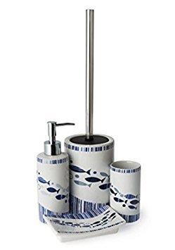 Acqua Fisch blau Nautisch 4-tlg. Badezubehör Set