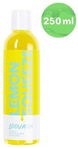 Loovara Lemon Squeeze - aceite para masajes eróticos (250 ml) | aceite sensual estimulante con aroma cítrico | preliminares de ensueño | ingredientes naturales, dermatológicamente testados | vegano