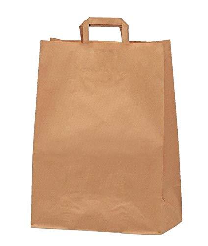 tüten Kraftpapier klein mit flachem Henkel 24 * 8 * 18 Speziell für Geschenke, Veranstaltungen, Geburtstag, Einkauf, Verkauf, Verpackung, Transport. Flacher Boden quadratisch ()