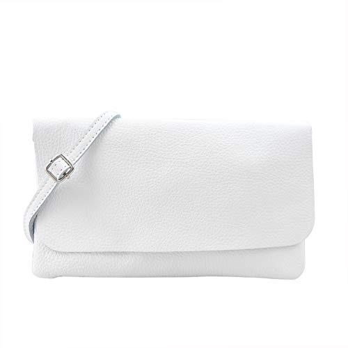 Clutch Aus Weißem Leder Handtaschen (SH Leder Echtleder Umhängetasche Clutch kleine Tasche Abendtasche 24,50x15cm Ely G149 (Weiss))