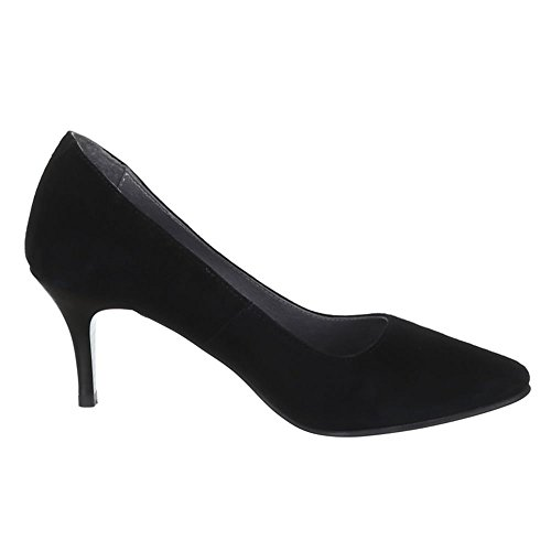 Damen Schuhe, 5453A, PUMPS LEDER HIGH HEELS Schwarz