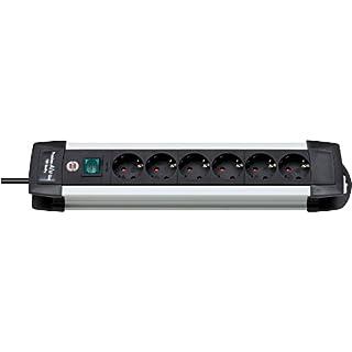 Brennenstuhl Premium-Alu-Line, Steckdosenleiste 6-fach - Steckerleiste aus hochwertigem Aluminium (mit Schalter und 3m Kabel) Farbe: schwarz
