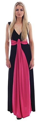Chocolate Pickle ® Femmes Plus Size Contraste Nouer Illusion Boob Ladies Dress Panel Color Maxi 44-54 Black Cerise
