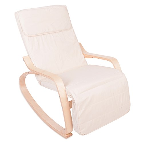ZNL Classic Retro Lounge Rocking Chair Relax Chair With 100% Cotton Cover Beige (Washable) RC-01