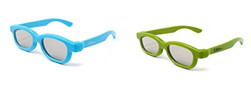 Ultra Gemischte Packung 1 Blau 1 Grün von Passiv-3D-Brillen für Kinder Polorized Eyewear Universal für Passivkino und Projektoren wie RealD Toshiba LG Sony TVs - Universal-projektor-3d-brille
