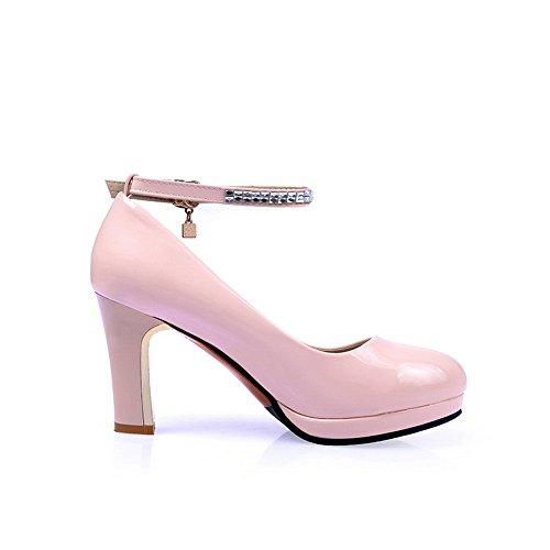 Pelle Imitazione Rosa Solido Fibbie Metallo In Balamasa Round toe Donna Pompe scarpe waWPPHXq8