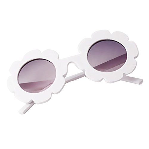 Sonnenblumen Kostüm Muster - MagiDeal Niedliche Kinder Mädchen Sonnenbrille Sonnenblumen Muster Brille Sommer Party Kostüm Zubehör - Weiß