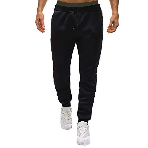 Herren Sweatpants Lässige Elastische Jogginghose Solide Sport Pockets Hose Slim Fitness Sport Freitzeithose (Schwarz,XXL)