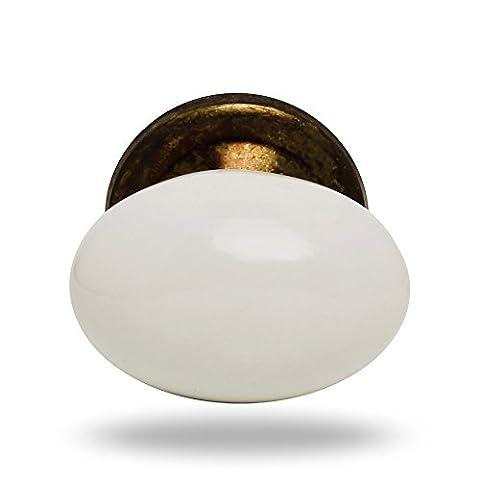 Big Ceramic Oval Knob White Antique finish Lorena Kitchen Cabinet Cupboard Door Knobs Dressser Wardrobe (Ottone Ovale Porta)