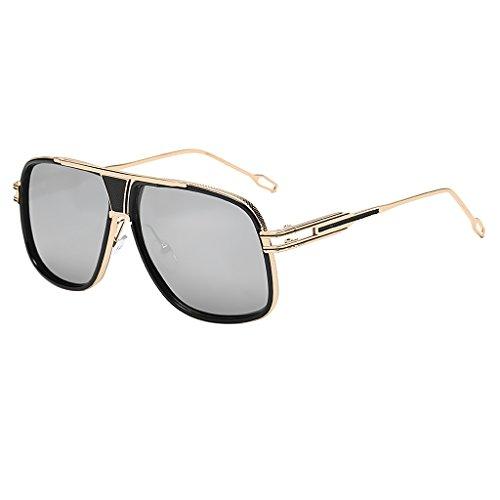 Sharplace Vintage Sonnenbrille Männer Frauen Übergroße Brillen Gläser - Gold Frame Weiß Silber Linse