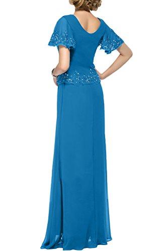 Gorgeous Bride Elegant Brautmutterkleider Lang Chiffon Spitze Kurz Ärmel Etui Abendkleider Lang Cocktailkleider Ballkleider Gelb-Grün