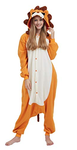 Tier Kostüm Einzigartige - SAMGU Adult Pyjama Cosplay Tier Onesie Body Nachtwäsche Kleid Overall Animal Sleepwear Erwachsene Löwe XL