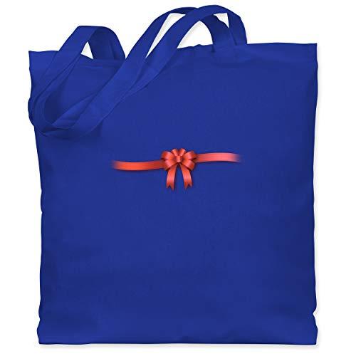 Shirtracer Valentinstag - Ich bin ein Geschenk - Schleife - Unisize - Royalblau - WM101 - Stoffbeutel aus Baumwolle Jutebeutel lange - Valentinstag Themen Kostüm