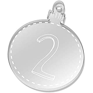 Azeeda 2 x 52mm 'Number Two' Clear Flat Baubles (CB00038263)